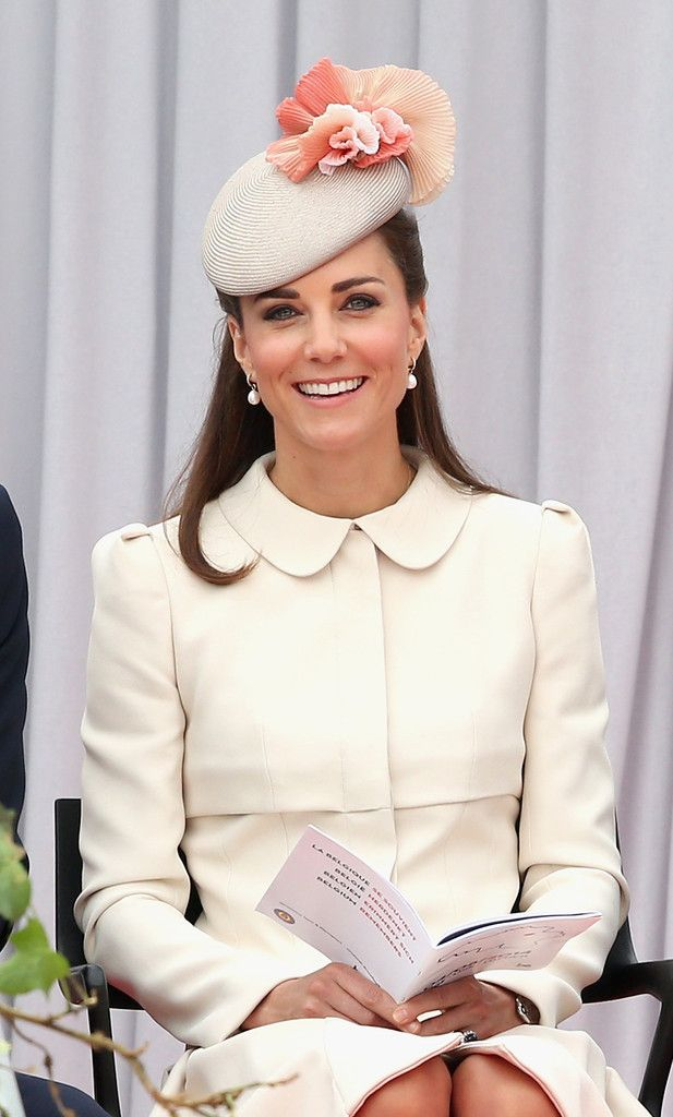 """The Duchess of Cambridge is wearing Jane Taylor S/S14 """"Fleur"""" hat for WW1 commemorations, Belgium.  #passion4hats"""