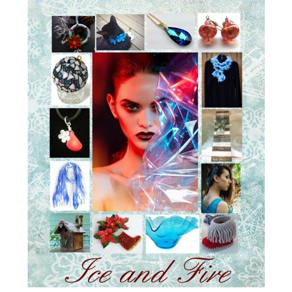 Ice and Fire: Handmade Gift Ideas in Red and Blue by paulinemcewen on Polyvore featuring interior, interiors, interior design, home, home decor, interior decorating, Blenko, rustic and country