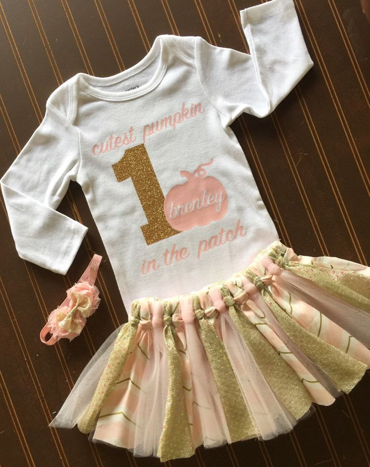 Gold and blush pink Tutu Set - Gold Onsie - Fall baby outfit 1st Birthday Outfit - Fall pumpkin Baby Girl Tutu - Thanksgiving Outfit #gold