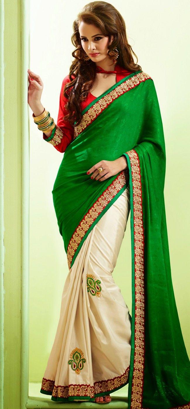 Self printed green and cream saree: KSR2506