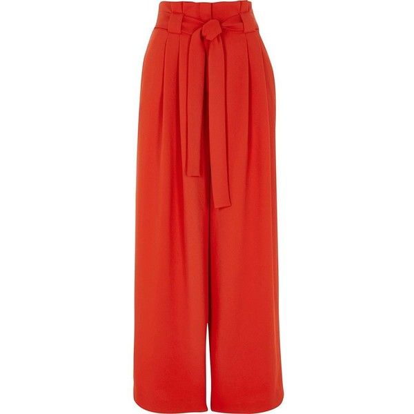 River Island Petite red paper bag waist wide leg pants ($90) ❤ liked on Polyvore featuring pants, bottoms, trousers, red, wide leg trousers, women, tall pants, tie waist belt, wide leg pants and red waist belt