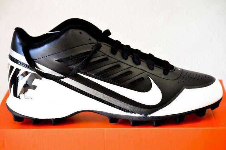 NIKE LAND SHARK 3/4 MEN'S FOOTBALL CLEATS Black & White size 11.5 D NIB #Nike
