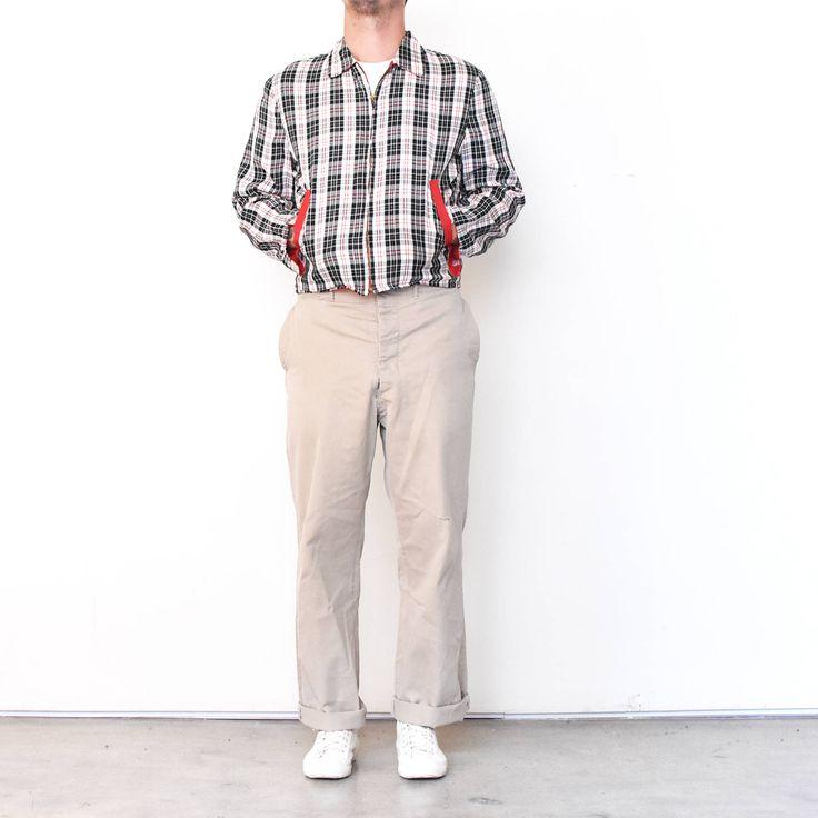 Vintage 50s Black White Red Plaid Reversible Jacket | 1950 slash pocket Rockabilly car club jacket Gaberdine by MidNorthMerc on Etsy https://www.etsy.com/listing/548453508/vintage-50s-black-white-red-plaid