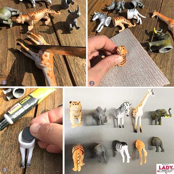 plastic, dieren, magneet, magneetjes, magneten, koelkast, speelgoed, spelen, diy, zelf, maken, knutselen, zagen, lijmen, tijger, olifant, giraf, zebra, neushoorn, kinderen, tip, idee, inspiratie, interieur, keuken