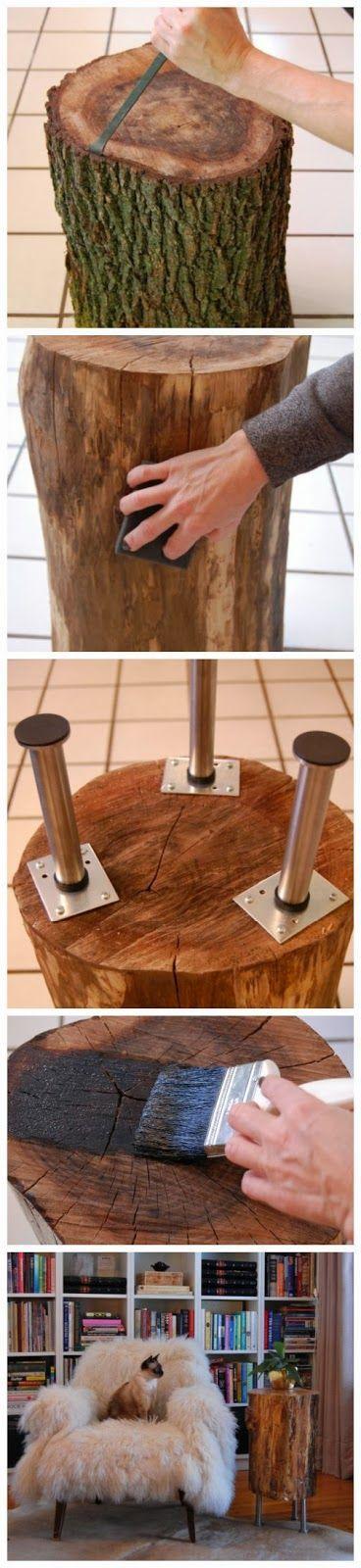 Rustikales filigran in Szene gesetzt: Mit diesem DIY-Tipp kreieren Sie aus wenigen Materialien und einem einfachen Holzscheit einen wundervollen Beistelltisch. #DIY #Holz #Einrichten #Inneneinrichtung #Tisch #Hocker