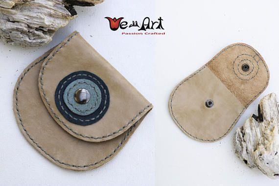 Light Natural Brown Beige Handmade Genuine Leather Wallets