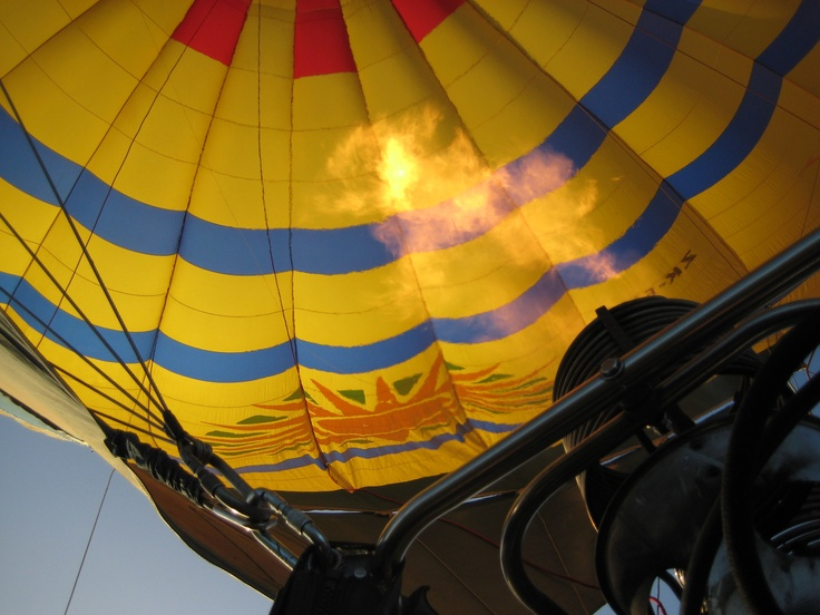 Blast off!! taking off on our hot air balloon ride in Hawkes Bay, NZ