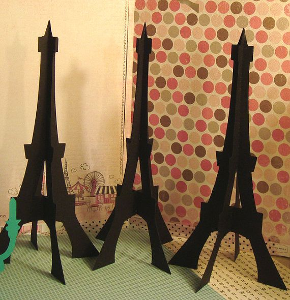 Elegant Paper Party Decor Black Eiffel Tower Shabby Chic