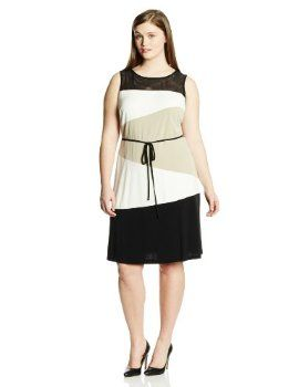 Sandra Darren Women's Plus-Size Sleevless Diagonal Colorblock Tie Waist Dress