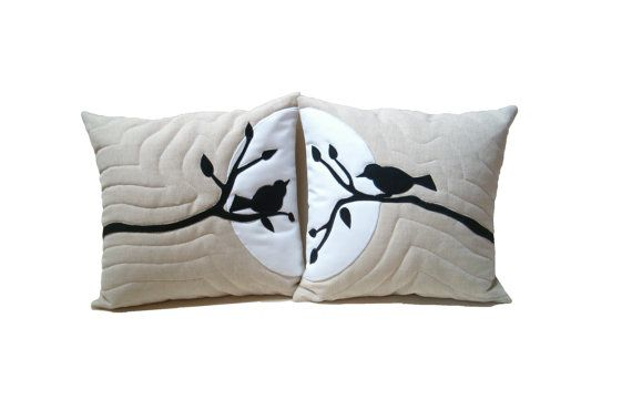 Bird in Tree  Linen Pillows  Appliqued  Nature Throw Pillowcases Wedding HET on Etsy, $80.00