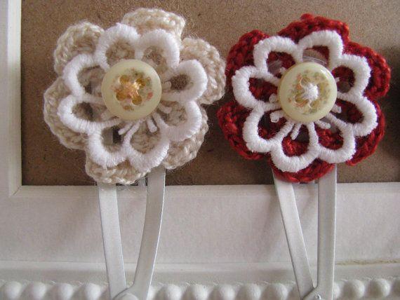 Crochet flower snap clips  Girl's snap clips  Toddler's by Chrisin, €3.50