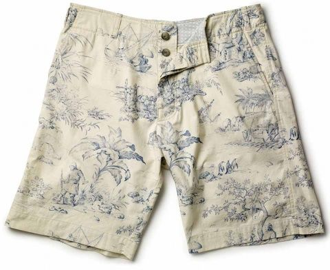 French Toile (white & blue) Printed Mens Shorts 007 Lifestyle