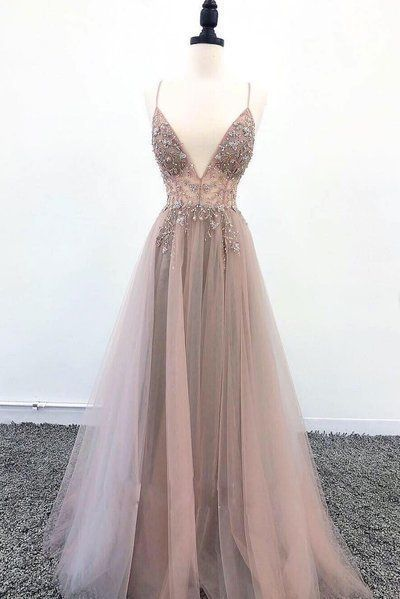 Deep Champagne Tulle V Neck Long Spaghetti Straps Sequins Evening Dress, Prom Dress D-002