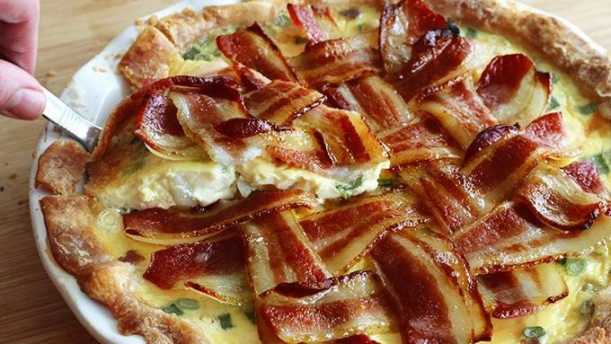 Take all your favorite breakfast ingredients -– bacon, eggs, hash browns, cheese, milk – and combine them into a glorious breakfast pie. Then add a bacon lattice on top and the creation is complete!