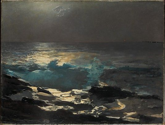"""Moonlight, Wood Island Light"" ... by Winslow Homer - 1894  Oil on canvas."
