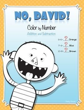"""No, David! Color by Number (Addition and Subtraction)Enjoy these fun activities to help your students' creativity after reading David Shannon's """"David"""" books. - Color by Number Addition- Color by Number Subtraction- 2 Color by NumberHope you enjoy!Thank you for stopping by. :)___________________________________________________________This material was all made with Cheeky Cherubs clipart.Follow me on InstagramCheck out my Pinterest page"""