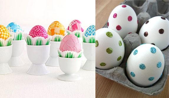 Easter egg decorating: Dots Eggs, Polka Dots, Glitter Dots, Holidays Ideas, Dots Easter, Easter Eggs, Tape Eggs, Eggsel Ideas, Eggs Decor