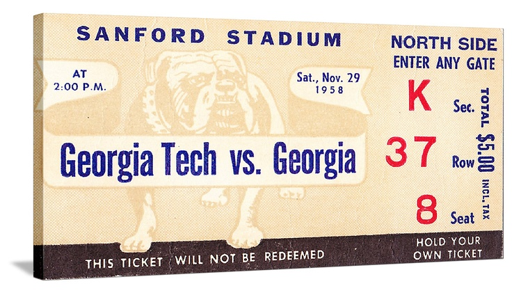 Football tickets! The best vintage Georgia football tickets are at http://www.shop.47straightposters.com/