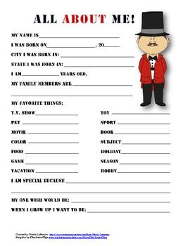 """""""All About Me"""" circus themed student questionnaire"""