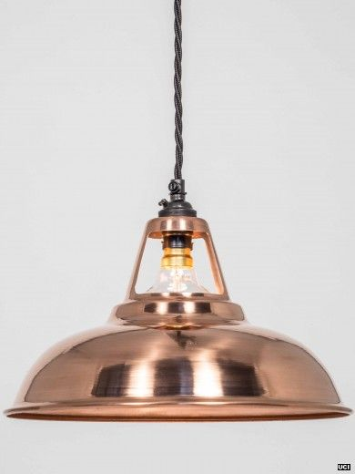 Copper coolicon pendant light every factorylux light shade is made in the uk by skilled