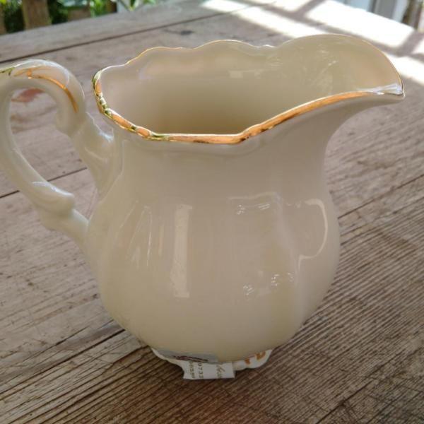 Besonders großes Milchkännchen, altes Porzellan, creme / Gold, Mitterteich…