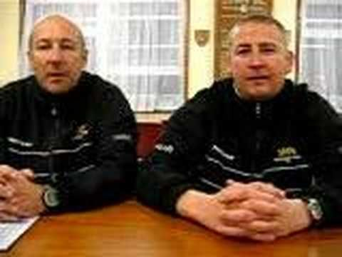 Faversham Town's Paul Copley and Bob Mason after E win