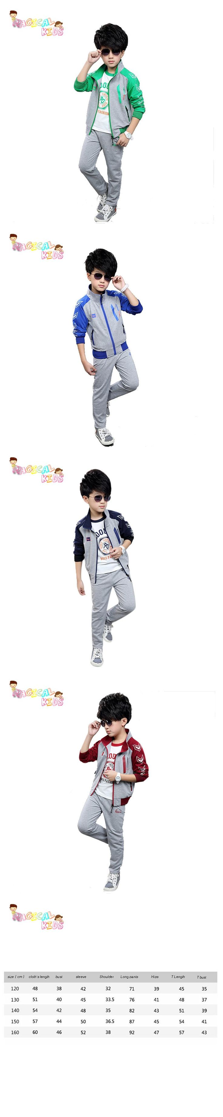 Spring Fashion Cheap Tracksuit Full Sleeve Coat+Trousers+Sleeve T shirt Boy Children Clothes Set Baby Set Kids Clothes 3PCS $39.86