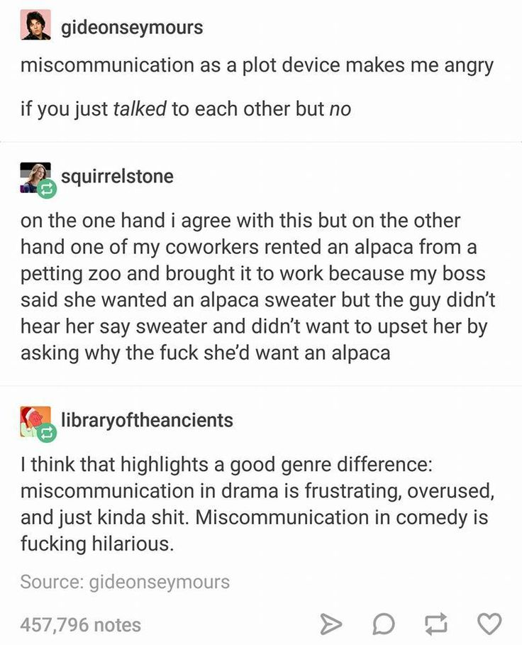Miscommunication as a plot device.| Comedy, memes