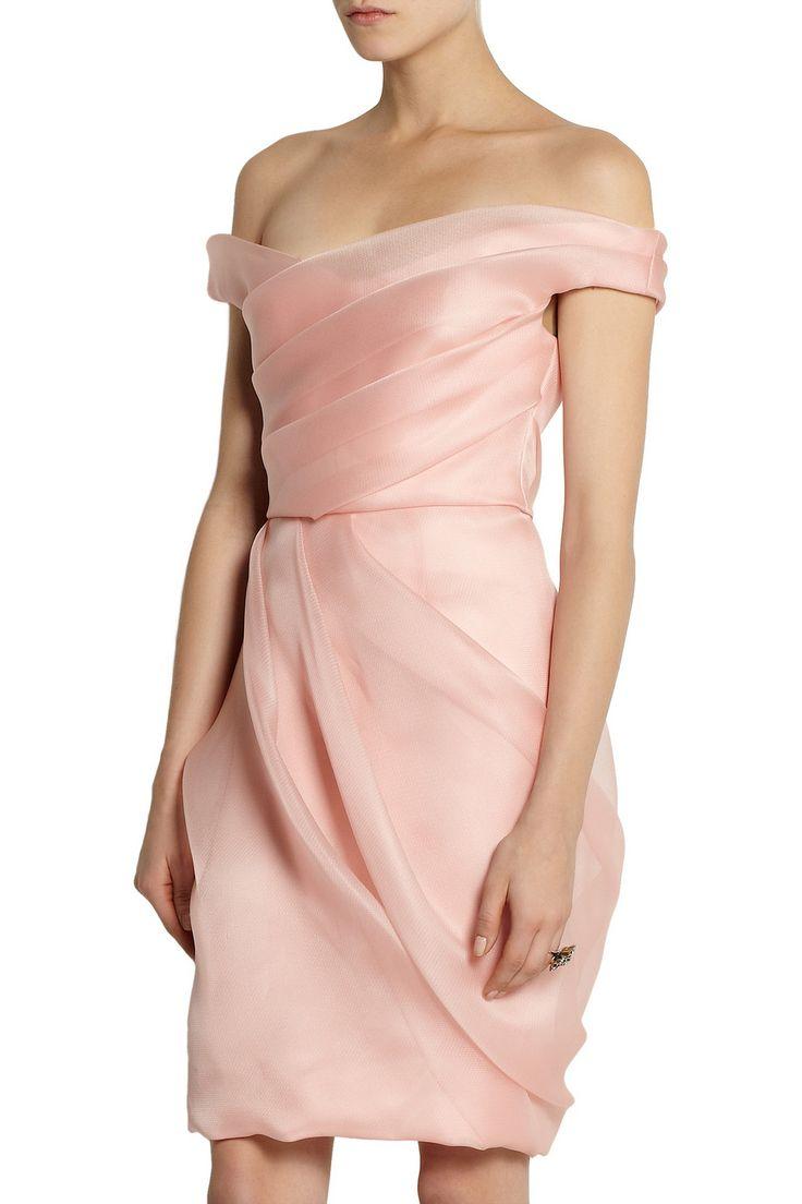 Lela Rose Pleated silk-organza dress