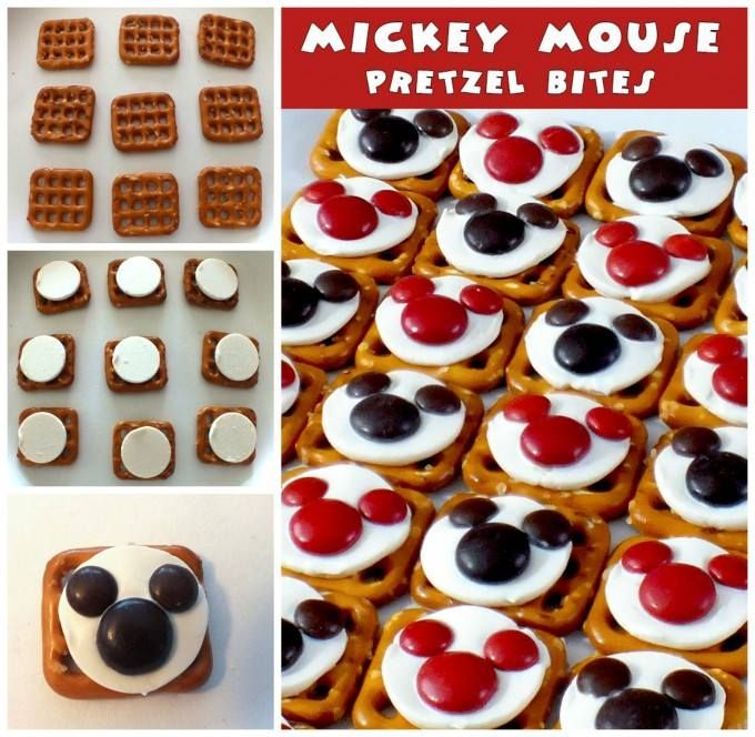 MICKEY PRETZEL BITES....these are super cute & so easy! You could use red & green M&M's for Christmas..the kids will love these!