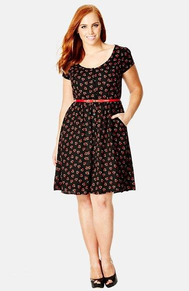 Free shipping and returns on City Chic 'Miss Cherry' Fit & Flare Dress (Plus Size) at Nordstrom.com. The season's sweetest print is ripe for the picking in a flirty crepe dress cut with a scooped neckline and cap sleeves. A red patent belt trimmed with a bow accentuates the flattering silhouette.