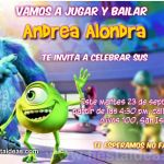 invitaciones Monster inc 3 Gratis