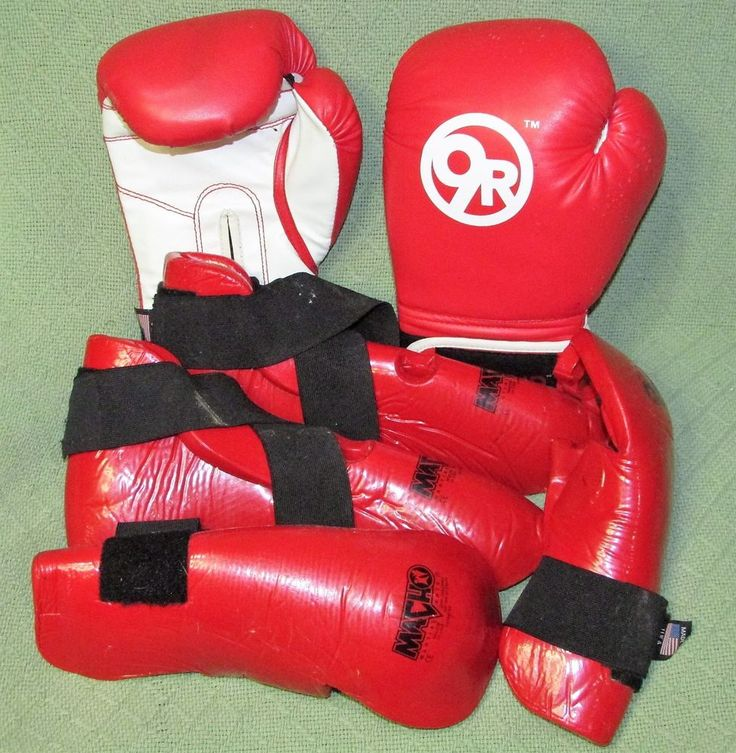 6 Piece Martial Arts Sparring Gear RED Karate Tae Kwon Do Adult Set with Gloves #Macho9Round