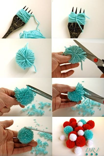Pompoms avec une fourchette. http://decorareciclaimagina.blogspot.fr/2012/02/tutorial-pompones-de-lana.html#more