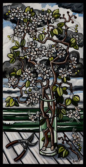 'Garden Table - Pear Branches' (2015) by American painter David Bates (b.1952). Oil on canvas, 48 x 24 in. via Talley Dunn Gallery on artsy