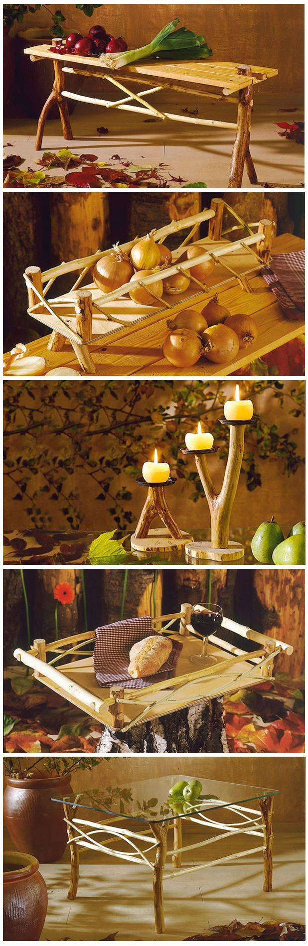 Mit Rohholz lassen sich tolle Möbelstücke und Deko bauen. Der rustikale Look sieht extrem gut aus. Wir zeigen, wie man Tisch, Kerzenständer und vieles mehr baut.