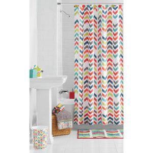 Coral Colored Chevron Shower Curtain