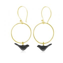 Lovebirds earrings (goldplated-black)