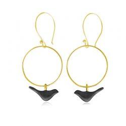 Lovebirds/ earrings (goldplated-oxidised)/ Jewelietta