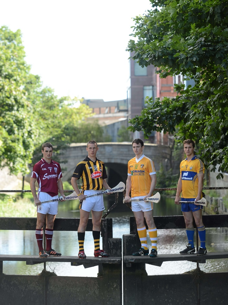 Bord Gais Energy Ambassadors Johnny Coen, #Galway, Cillian Buckley, #Kilkenny, and #Antrim's Conor McCann were accompanied by Patrick O'Connor, Clare in #Dublin ahead of the Bord Gáis Energy #GAA #Hurling Under 21 All-Ireland Semi-Finals 2012.
