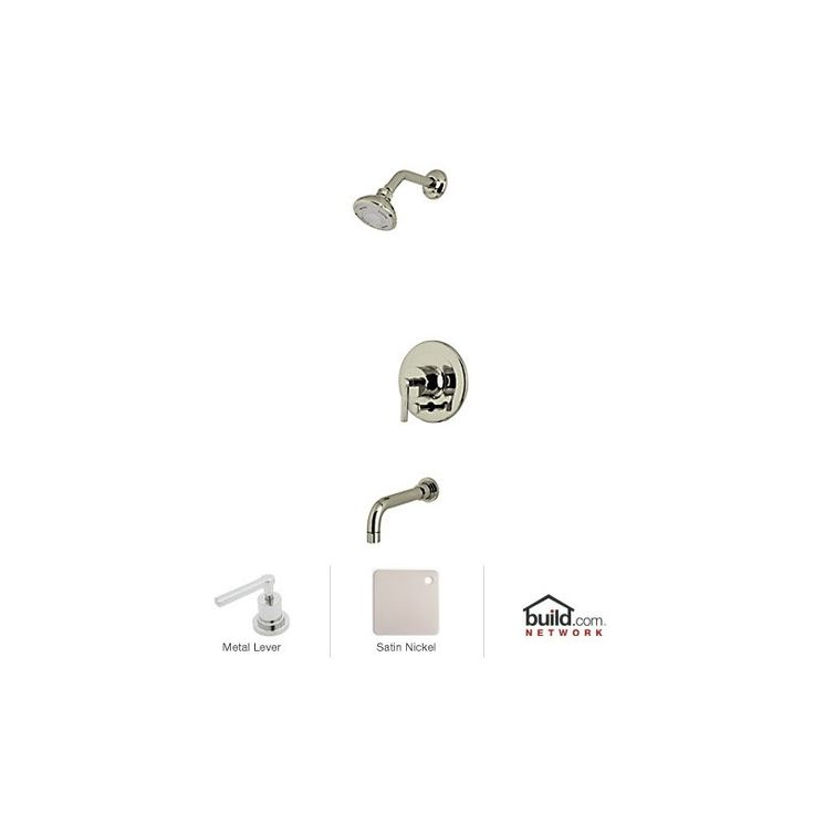 Rohl LOKIT21LM Lombardia Shower System with Shower Head Shower Arm Tub Spout Satin Nickel Faucet Shower System Single Handle