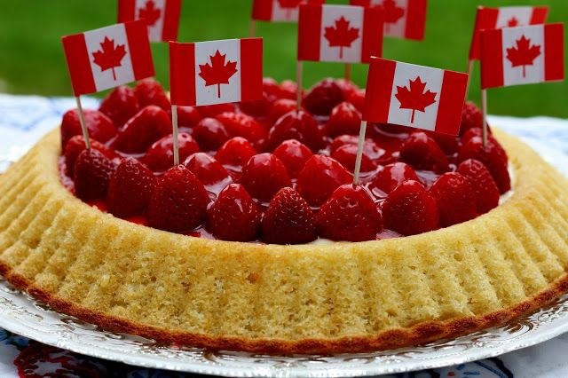 Canada Day inspired custard and berry torte.