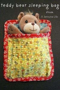Teddy Bear Sleeping Bag - A Jennuine Life  quilt sandwiches with right sides out mix matched so inside will match inside.  Outside will match outside.  Half box the bottom front so they have feet room.