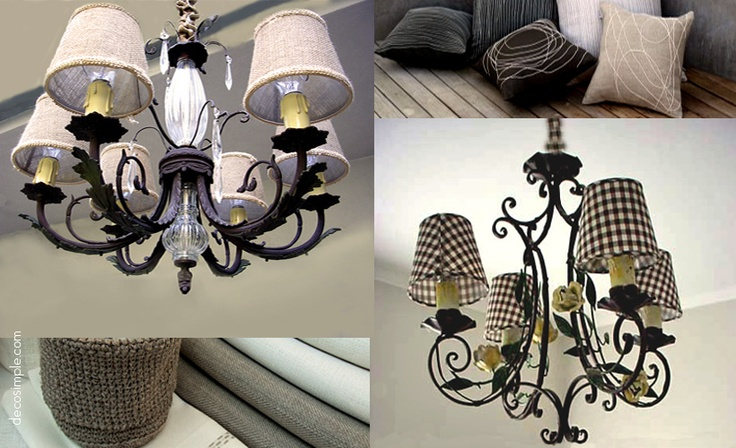 Reclaimed antique lamps and customized shades