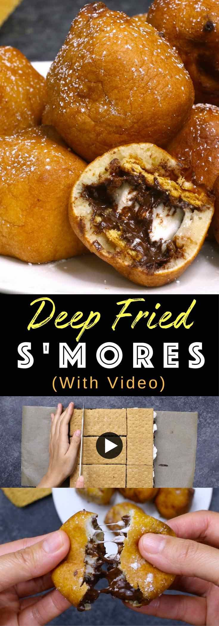 Deep Fried S'mores – OMG seriously one of the most delicious dessert! Smores dipped in homemade batter, and fried to a fluffy, golden crispy ball with a warm and melty chocolate chips and marshmallow inside. Quick and easy recipe. Perfect for party desserts. No bake, vegetarian. Video recipe.