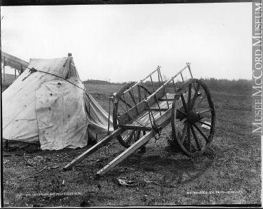 Red River cart and Métis camp, Qu'Appelle, SK, 1889