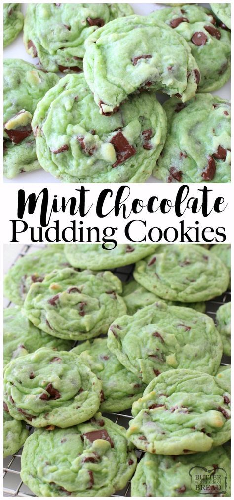 Easy, soft with a perfect blend of mint & chocolate, these Mint Chocolate Pudding Cookies are amazing! Recipe from Butter With A Side of Bread via @ButterGirls