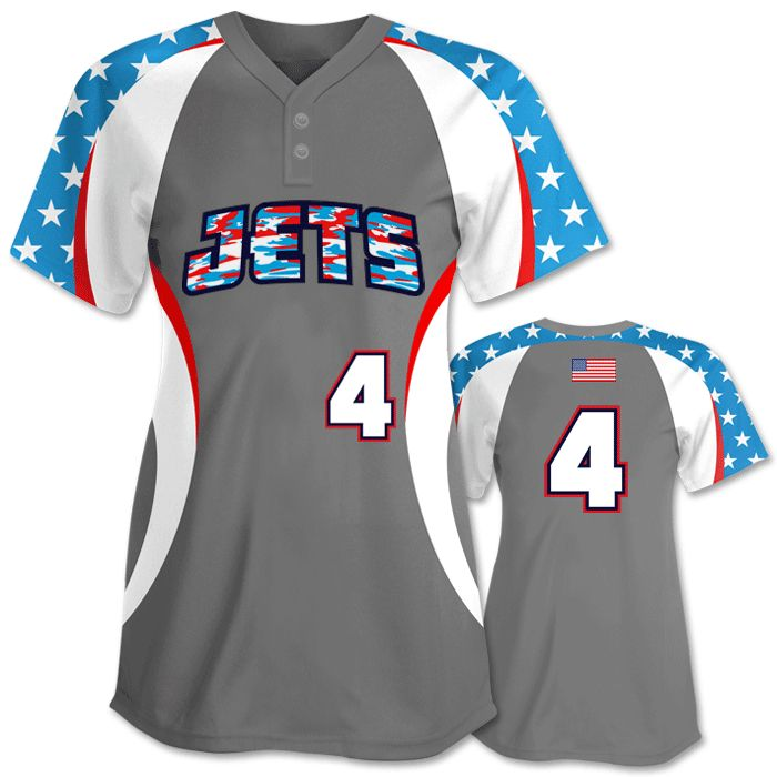 this unique patriotic softball jersey offers the stars but puts a twist on the stripes - Softball Jersey Design Ideas