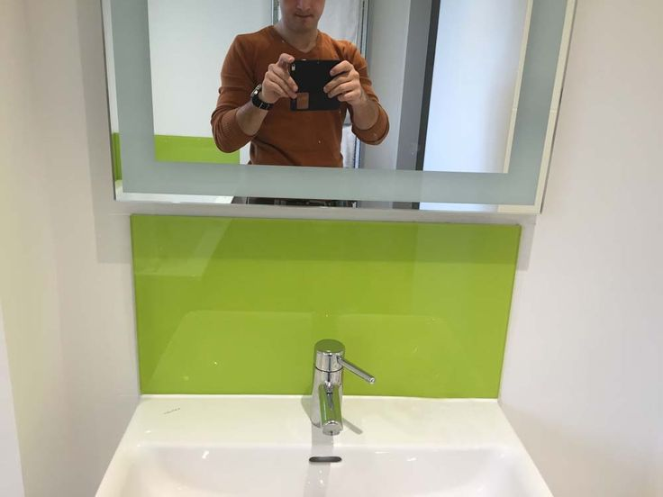 Lime Green Sink Splashback. Toughened Glass is extremely durable and easy to keep clean. It also provides huge range of colours and designs. #bathroom