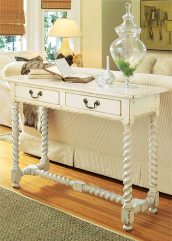 white spindle twist console table